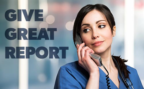 A nurse giving a great report on the phone at work