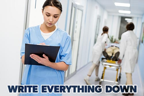 tips for new nurses - a nurse writing down important information