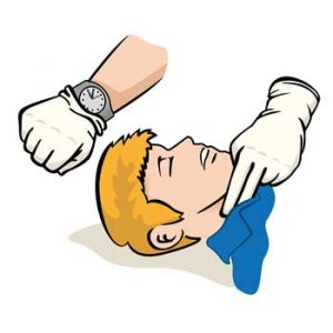 Check carotid pulse and check for breathing when finding your patient unresponsive